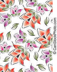 Seamless flowers for textile fabric