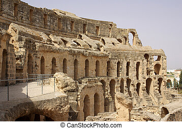 Coliseum in El-Jem, Tunisia, Africa in summer day