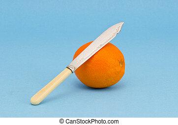 arancia, anticaglia, frutta, coltello