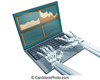 Robot trading - Illustration of a robot trader on a laptop