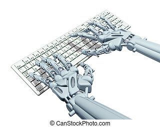 Robot computer - Illustration of a robotic computer operator...