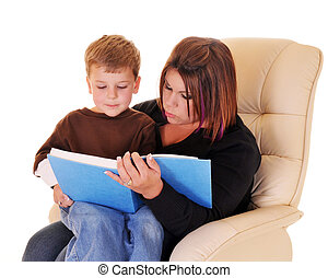 Mommy-Son Time - A preschool boy sitting on his mom\\\'s lap...