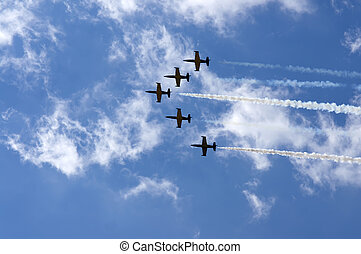 Aerobatics - Performing aerobatics in aircraft in the blue...