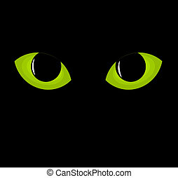 Green cat eyes. Vector illustration