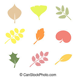 Leaves illustration - Various shapes of leaves - vector...
