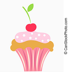Cupcake with cream and cherry. Vector illustration