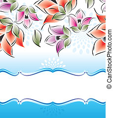 Vector banner of fancy flowers