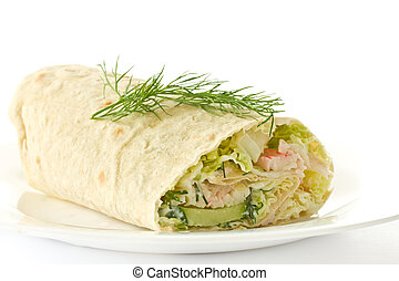 rolls with vegetables and crab sticks on a white background