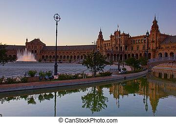 Square of Spain, Seville, Spain - Square of Spain at night,...