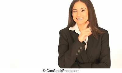 Businesswoman pointing to the side