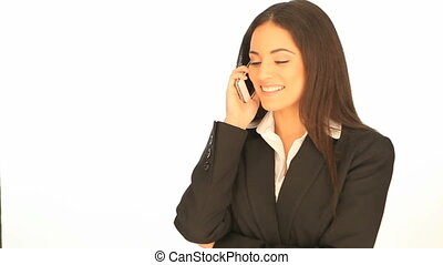 Beautiful businesswoman on mobile
