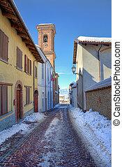 Narrow street. Montelupo Albese, Italy.