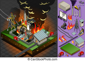 isometric disaster of coal plant fire - Detailed...