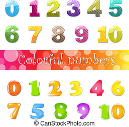 Big Cartoon Numbers Set, Isolated On White Background,...