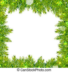 Christmas Tree Frame With Stars, Isolated On White...