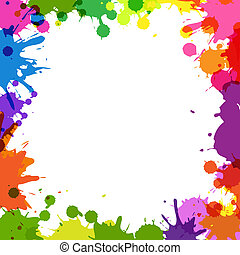 Frame With Color Blobs, Isolated On White Background, Vector...