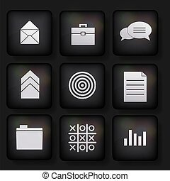Vector business app icon set on black background. Eps10