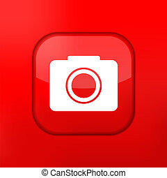 Vector red camera icon. Eps10. Easy to edit