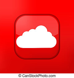 Vector red cloud icon. Eps10. Easy to edit