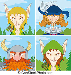 Fantasy heroes, avatar, set - Avatar faces of fantasy brave...