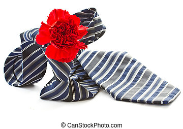mens tie with a red carnation on a white background