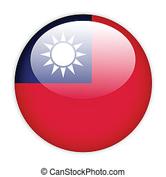 Taiwan flag button on white