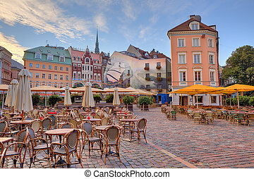 City square Riga, Latvia - Cobbled city square with outdoor...