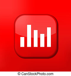 Vector red graph icon. Eps10. Easy to edit