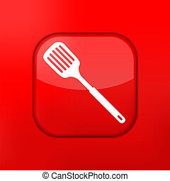 Vector red slotted kitchen spoon icon. Eps10. Easy to edit