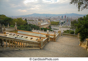 view from Montjuic mountain to the Espanya Square in Barcelona