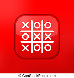 Vector red Tic tac toe icon. Eps10. Easy to edit