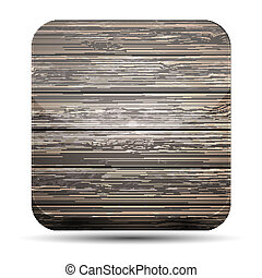 Vector wooden app icon on white background. Eps10