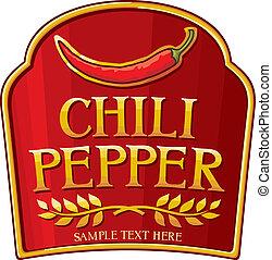 chili pepper label (chili pepper symbol)