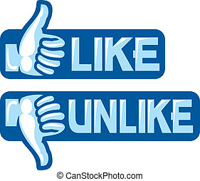 thumb up and down gesture like and unlike