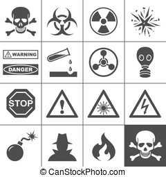 Danger and warning icons. Simplus series. Each icon is a...