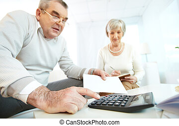 Financial revision - Portrait of mature man and his wife...