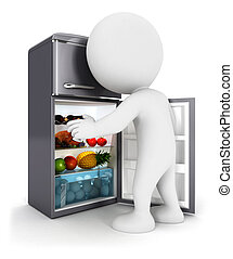3d white people opens a fridge door, isolated white...