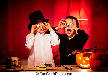 Halloween horror - Photo of two eerie boys frightening...