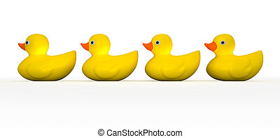 Get All Your Rubber Ducks In A Row - A front view of a row...