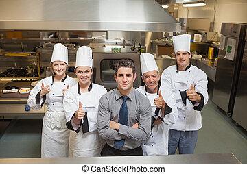 Five workers in restaurant - Five workers in restauran with...