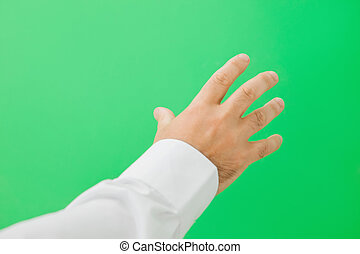 Open hand on green screen - Open hand in shirt on a green...