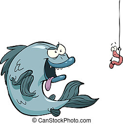 Fish and worm - Fish and a worm on a hook vector...