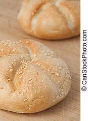 Kaiser rolls with sesame seeds