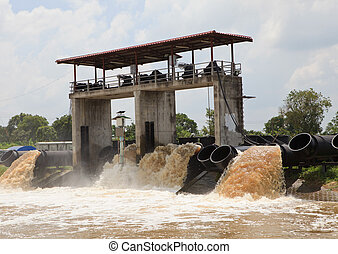 large water pipe pump flood water a