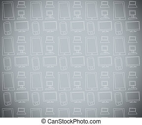 Grey background with electronics - Grey background with...
