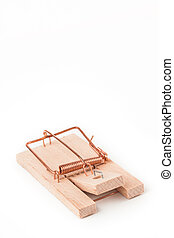 Mousetrap on white background