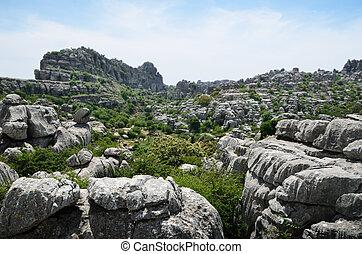 Spring view of El Torcal nature reserve - El Torcal de...