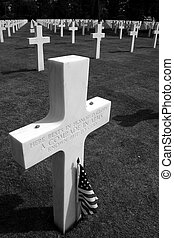 Unmarked grave at Omaha beach in Normandy