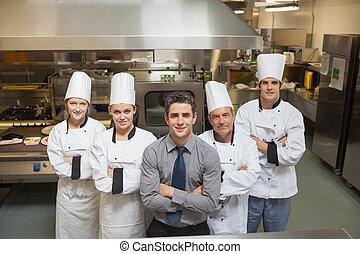 Team of a restaurant in kitchen