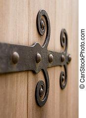viejo, puerta, bisagra, rusti